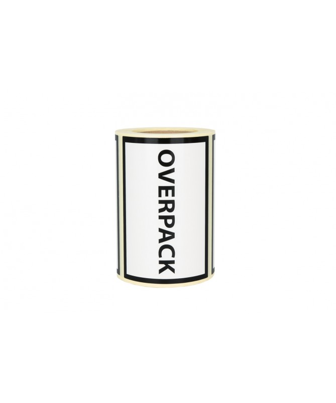 """Etykiety """"Overpack"""" 100x70 250szt 40mm"""